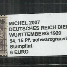 DEUTSCHES RECICH DIENSTMARKEN 1920 - 54.15 Pf - MICHEL 2007, Stampilat