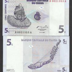CONGO 5 CENTI CENTIMES 1997, UNC [1] P-81a, necirculata - bancnota africa