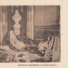 RASINARI( SIBIU), INTERIORUL MAUZOLEULUI CU BUSTUL SAGUNA - Carte Postala Transilvania dupa 1918, Necirculata, Printata