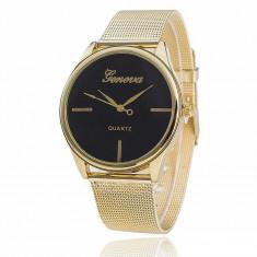 Ceas unisex model GENEVA SIMPLY gold clasic + cutie simpla cadou