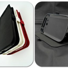 Husa FlipCover Stand Magnet HTC Desire 828 dual sim NEGRU, Plastic, Cu clapeta