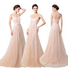 Rochie mireasa SARAH BRIDAL de seara ocazie nunta botez banchet crem roz pal S - Rochie de mireasa printesa