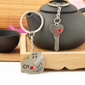 Breloc chei I LOVE YOU format din 2 bucati, cheie + inimioara