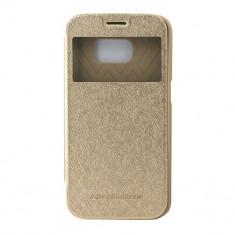Toc My-Wow Samsung Galaxy S7Edge Auriu - Husa Telefon Atlas, Piele Ecologica