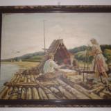 VECHI TABLOU ULEI - LEMN-SEMNAT - Pictor roman, Marine, Realism