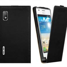 Toc piele  neagra husa flip  LG Optimus L5 e610 + folie  ecran