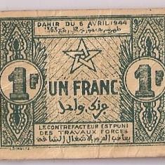 MAROC 1 FRANC 1944 VF - bancnota africa