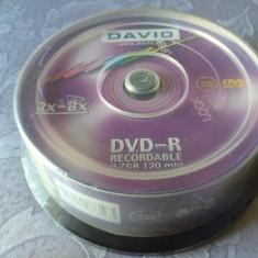 Set 25 PACK DVD - R marca Davio, 4, 7 GB, 8 x max speed / 120 min, NOU SIGILAT
