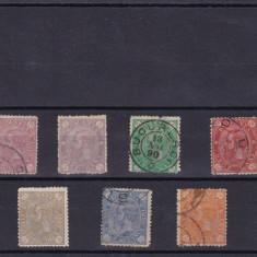 ROMANIA 1890, CAROL I CIFRA IN 4 COLTURI FILIGRAN STEMA, SERIE MIXTA - Timbre Romania, Stampilat