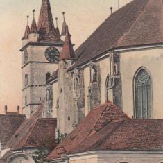 SEBES, SALUTARI DIN SEBESUL SASESC, BISERICA EVANGHELICA, CIRCULATA SEPT''908 - Carte Postala Transilvania 1904-1918, Printata