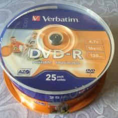 Set 25 PACK DVD - R marca Verbatim, 4, 7 GB, 16 x max speed / 120 min, NOU SIGILAT