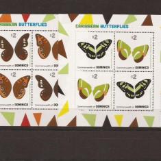 Dominica - caribbean fluturi - 4190/3 klbg, Natura, Nestampilat