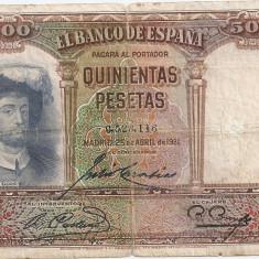 SPANIA 500 PESETAS 1931 U - bancnota europa