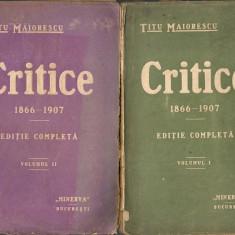 Maiorescu - Critice - 2 volume, 1908, 1915 - Carte Editie princeps