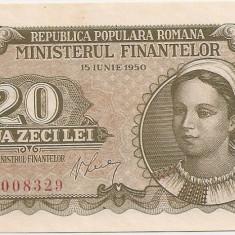 ROMANIA 20 LEI 1950 UNC - Bancnota romaneasca