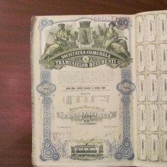 GE - Actiune nominativa 500 lei Societatea Comunala Tramvaielor Bucuresti 1945/3, Romania 1900 - 1950