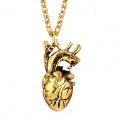 Pandantiv / Colier / Lantisor - Gothic 3D Inima forma anatomica, gold, silver - Pandantiv fashion
