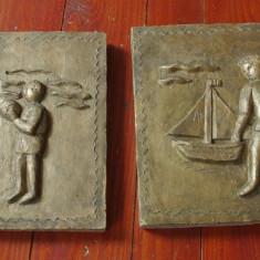 lot 2 bucati - Placa din ceramica realizata manual copii la mare / litoral !!!