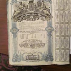GE - Actiune nominativa 500 lei Societatea Comunala Tramvaielor Bucuresti 1945/1