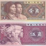 Bancnota China 1 si 5 Jiao 1980 - P881/ 883 UNC (set 2 bancnote) - bancnota asia