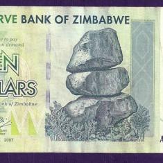 ZIMBABWE 10 DOLARI DOLLARS 2007 [15] P-67, VF+ - bancnota africa