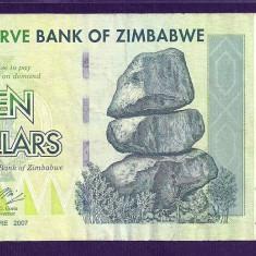 ZIMBABWE 10 DOLARI DOLLARS 2007 [16] P-67, VF+ - bancnota africa
