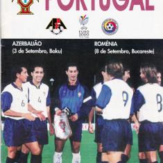 Program meci fotbal ROMANIA-PORTUGALIA 08.09.1999 (este scos de portughezi)