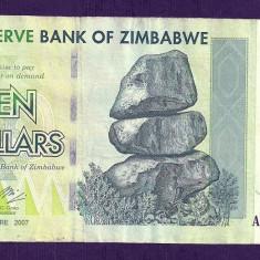 ZIMBABWE 10 DOLARI DOLLARS 2007 [9] P-67, VF+ - bancnota africa