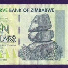 ZIMBABWE 10 DOLARI DOLLARS 2007 [5] P-67, VF++ - bancnota africa
