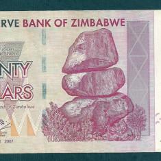 ZIMBABWE 20 DOLARI DOLLARS 2007 [3] P-68, VF+ - bancnota africa