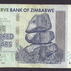 ZIMBABWE 100 DOLARI DOLLARS 2007 [5] P-67, VF - bancnota africa