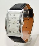 Ceas barbati HSD negru casual - elegant (cadran curbat), Quartz, Inox