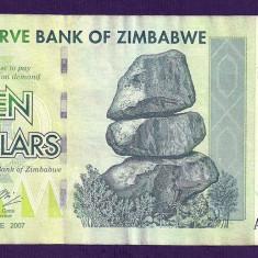 ZIMBABWE 10 DOLARI DOLLARS 2007 [11] P-67, VF+ - bancnota africa