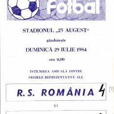 Program meci fotbal ROMANIA - CHINA 29.07.1984 (meci amical)