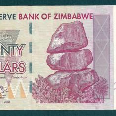 ZIMBABWE 20 DOLARI DOLLARS 2007 [1] P-68, XF++ - bancnota africa