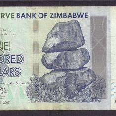ZIMBABWE 100 DOLARI DOLLARS 2007 [1] P-67, VF - bancnota africa
