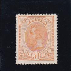 ROMANIA 1893/99, LP 51 j(1894), CAROL I SPIC DE GRAU VAL 50 BANI, VEZI VERSO - Timbre Romania, Nestampilat