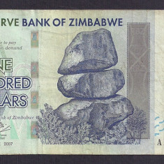 ZIMBABWE 100 DOLARI DOLLARS 2007 [9] P-67 - bancnota africa