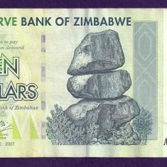 ZIMBABWE 10 DOLARI DOLLARS 2007 [14] P-67, VF+ - bancnota africa