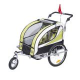 Remorca de bicicleta pentru transportat copiii Qaba - galben + alb + negru