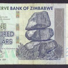ZIMBABWE 100 DOLARI DOLLARS 2007 [7] P-67 - bancnota africa