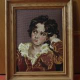 Tablou cu rama din lemn - Goblen reproducere dupa pictura / portret de baiat !