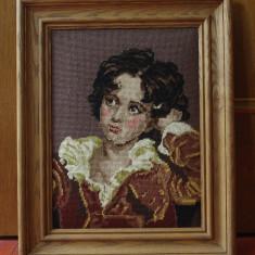 Tablou cu rama din lemn - Goblen reproducere dupa pictura / portret de baiat ! - Tapiterie Goblen
