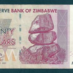 ZIMBABWE 20 DOLARI DOLLARS 2007 [5] P-68, VF+ - bancnota africa