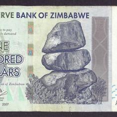 ZIMBABWE 100 DOLARI DOLLARS 2007 [4] P-67, VF+ - bancnota africa