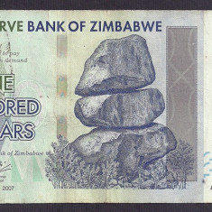 ZIMBABWE 100 DOLARI DOLLARS 2007 [8] P-67 - bancnota africa