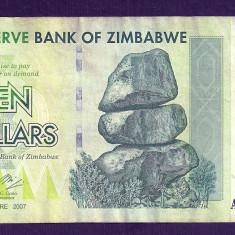 ZIMBABWE 10 DOLARI DOLLARS 2007 [19] P-67, VF - bancnota africa