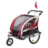 Remorca de bicicleta pentru transportat copiii Qaba - rosu + alb + negru