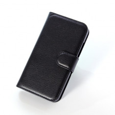Husa Vodafone SMART 4 Mini Flip Case Inchidere Magnetica Black, Negru, Piele Ecologica, Toc