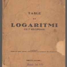 C6704 TABLE DE LOGARITMI CU 7 ZECIMALE - VASILE SUCIU, 1932